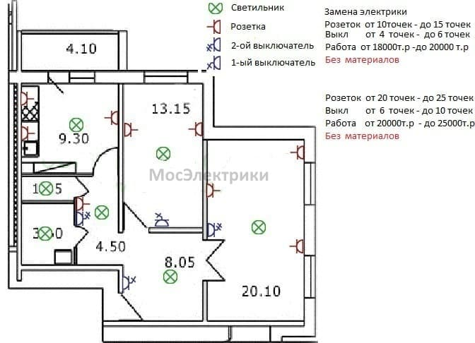 замена электрики в двухкомнатной квартире цена